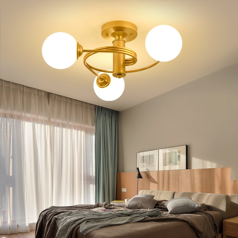Купить с кэшбэком Modern LED Ceiling Lights For Kids room Living room Nordic Corridor Hallway Ceiling Lamp Glass Gold Lighting Fixture plafondlamp