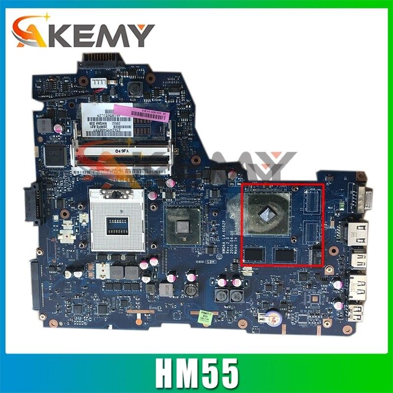 AKEMY K000104420 LA-6062P اللوحة الأم لأجهزة الكمبيوتر المحمول توشيبا A660 NWQAA REV 2.0 إنتل HM55 نفيديا الرسومات اللوحة الرئيسية