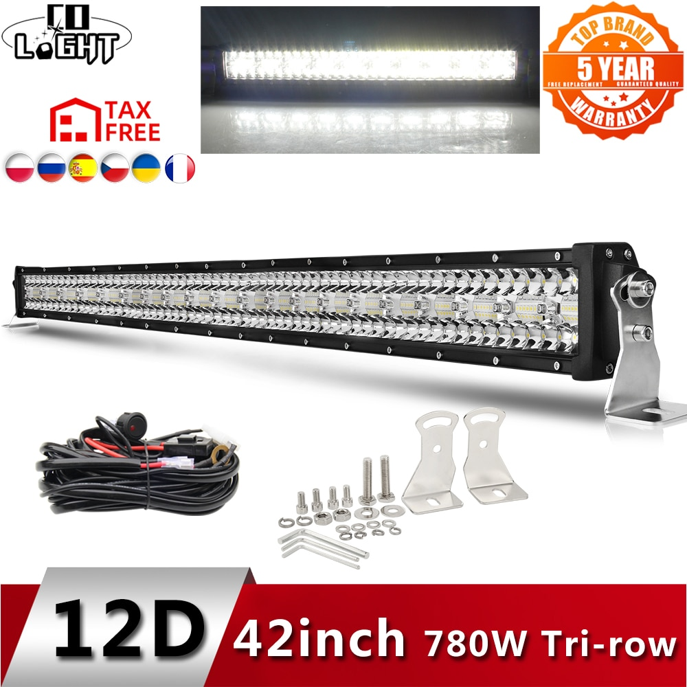 AliExpress - CO LIGHT 12D High Power 3-Row Led Bar Offroad 12V 390W 585W 780W 936W 975W Combo Beam 4×4 Work Light Bar for Trucks ATV SUV Boat