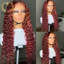 Topnormantic Burgundy Color Deep Wave Wigs For Women 13x4 Lace Front Remy Human Hair Wig Preplucked