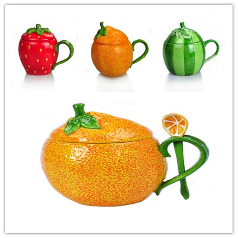 2019 envio de frutas morango caneca de grande capacidade laranja melancia cerâmica leite xícara de café xícara de café personalidade presente cl90322