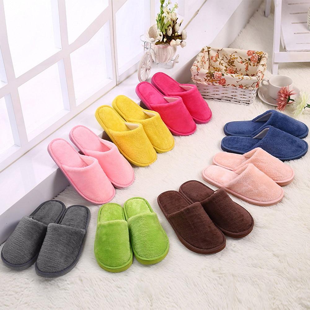 30#Women Men Shoes Slippers Men Warm Home Plush Soft Slippers Indoors Anti-slip Winter Floor Bedroom Shoes chaussures femme