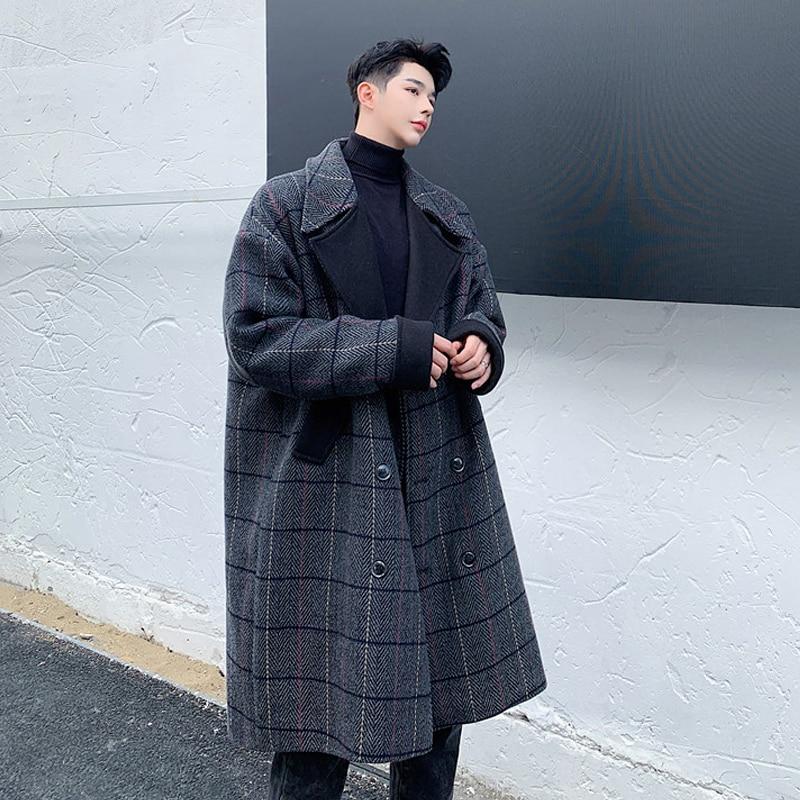 2019 invierno estilo británico con estampado largo abrigo de lana coreano abrigo de lana de color doble botonadura