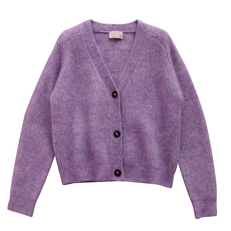 SHUCHAN Wool Mohair Spandex Acrylic V-Neck Cardigan Women Sweater High Street Dropshipping Fall Sweaters for Women