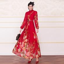 Summer Chiffon Vintage Long Dress Black Printed Women Evening Party Dresses Ladies Maxi Gown Runway Dresses 8122