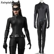 De Dark Knight Rises Batman Catwoman Cosplay Kostuum Fancy Halloween Superheld Outfit Selina Kyle Sexy Zwarte Jumpsuit