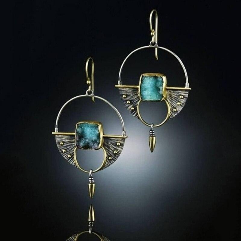 Классические полые круглые серьги из синего камня, Винтажные серьги серебристого цвета, женские длинные висячие серьги для девочек
