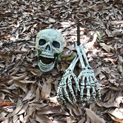 2019 Esqueleto do dia das bruxas Natal Prop 100% Plastic Lifelike Estatueta Crânio Ossos Humanos para o Horror de Halloween Decoração Do Partido