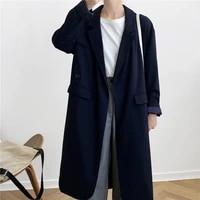 women navy long coat long sleeve loose jacket pockets single breasted straight jacket solid casual tops manteau femme