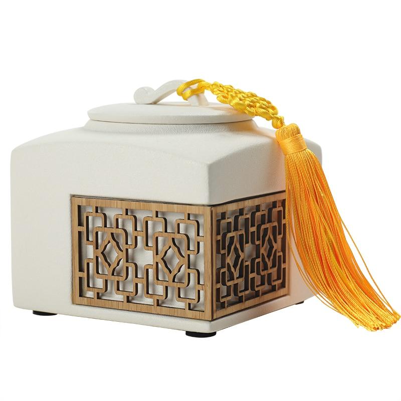 Caja cuadrada de té de cerámica china, recipiente de hojas de té, corbata de té Kuan Yin Caddy, tapa de sellado A prueba de olor, Boite A almacenamiento de té AC50TE