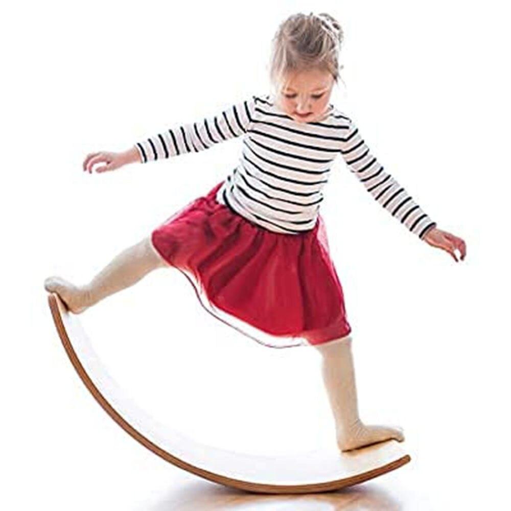 placa de equilibrio de madeira criancas curvo gangorra wobble board yoga curvy balance