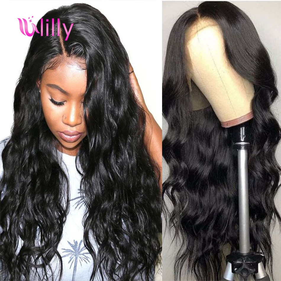 ULilly הודי גוף גל Lce חזית פאות עבור נשים 13x 4/6 Glueless שיער טבעי פאות עם שיער טבעי Perruque Bresilienne
