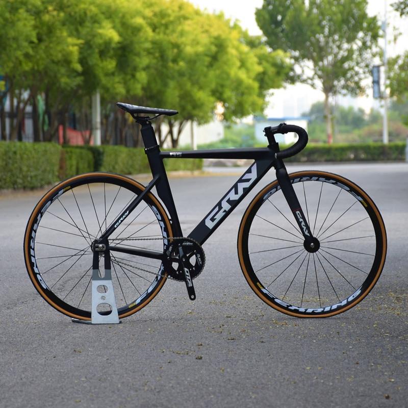 رمادي دراجة فيكسي دراجة بسرعة ثابتة 48 سنتيمتر 52 سنتيمتر 55 سنتيمتر دراجة بسرعة واحدة الألومنيوم إطار الكربون شوكة 700C شقة تكلم سباق عجلة Vbrake