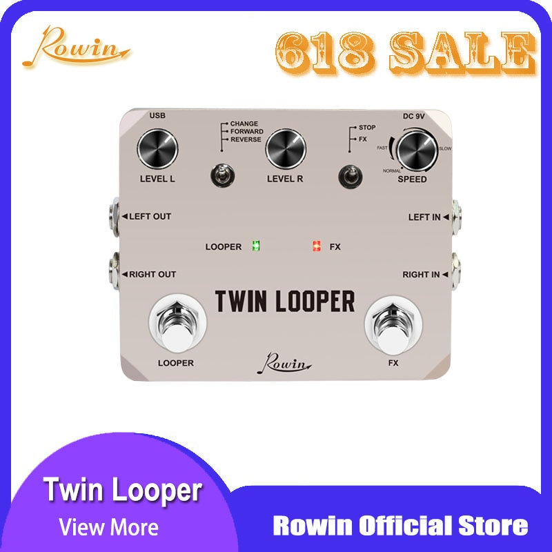 rowin tiny looper electric guitar effect pedal 10 minutes of looping unlimited overdubs Rowin Twin Looper Station Electric Guitar Effect Pedal for Guitarists