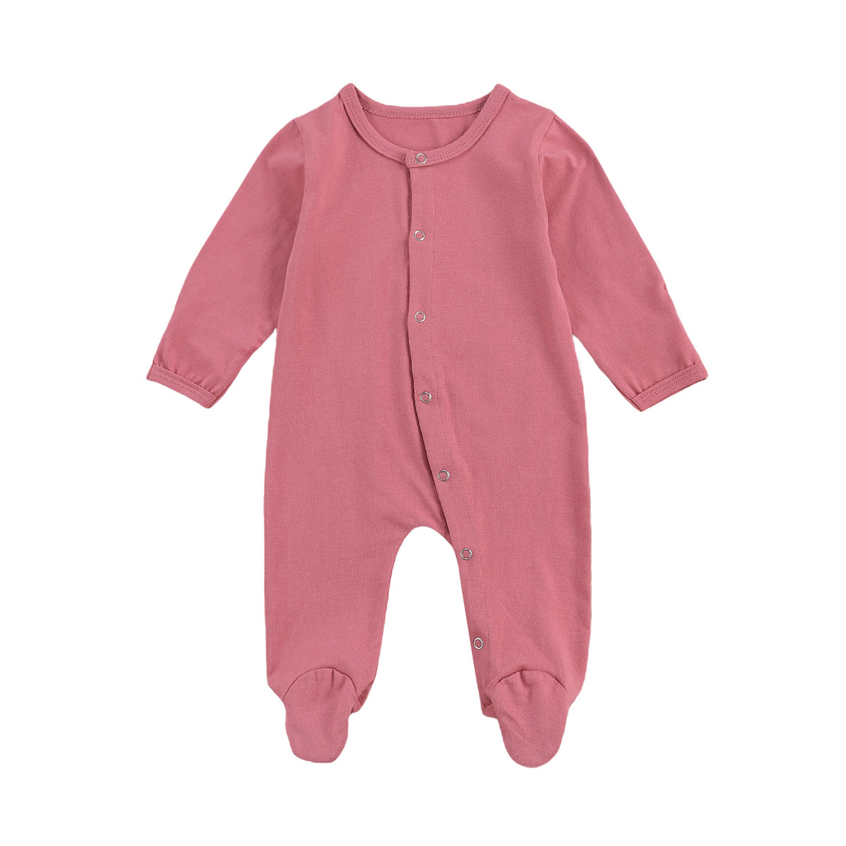 Newborn Baby Girls Boys Footies Rompers Solid Long Sleeve Button Autumn Winter Jumpsuits 0-12M