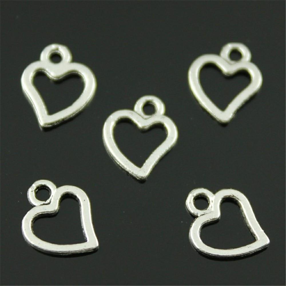 300pcs Cute Heart Charms For Jewelry Making Mini Heart Charm For Jewelry Making DIY Jewelry Accessories Small Heart Charm 8x10mm