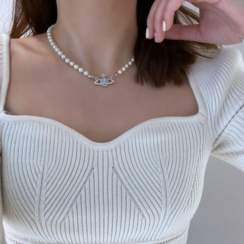 Fashion Planet Pearl Pendant Necklace for Women Neck Chain trendy Choker Collar Pearl Collier Party
