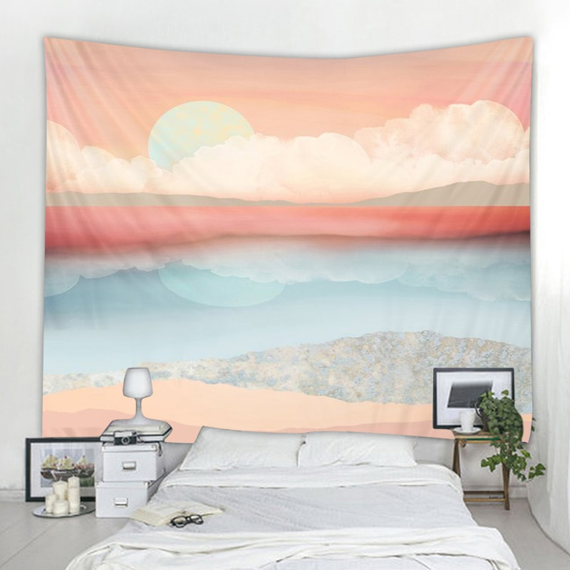 Tapeçaria tapeçaria boêmia cigana psicodélica tapiz tapeçaria tapeçaria por do mar indiano mandala