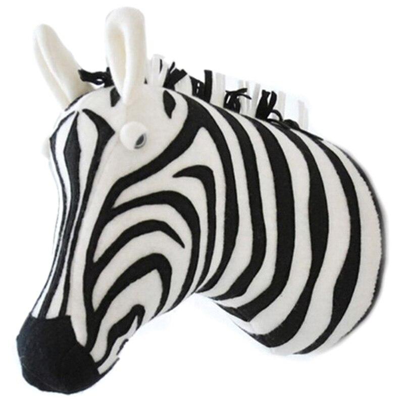 Animal 3D cabeza de pared lindo relleno de pared colgando juguetes niños habitación Animal esculturas para pared -- cebra