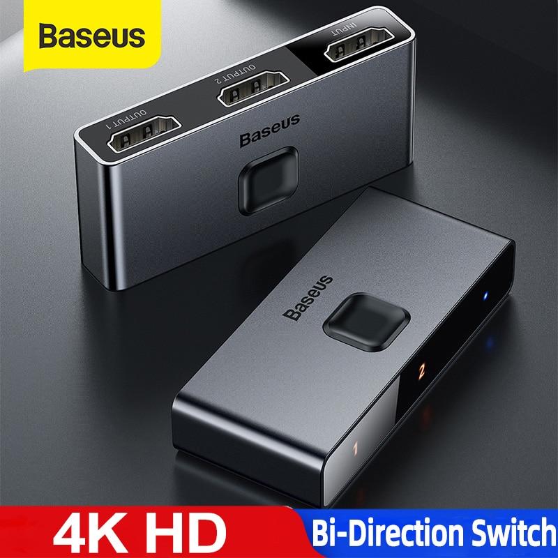 Baseus 4K HD Switch HDMI-compat Adapter for Xiaomi Mi Box HD Switcher 1x2/2x1 for PS4/3 TV Box Switch 4K HD Bi-Direction Switch
