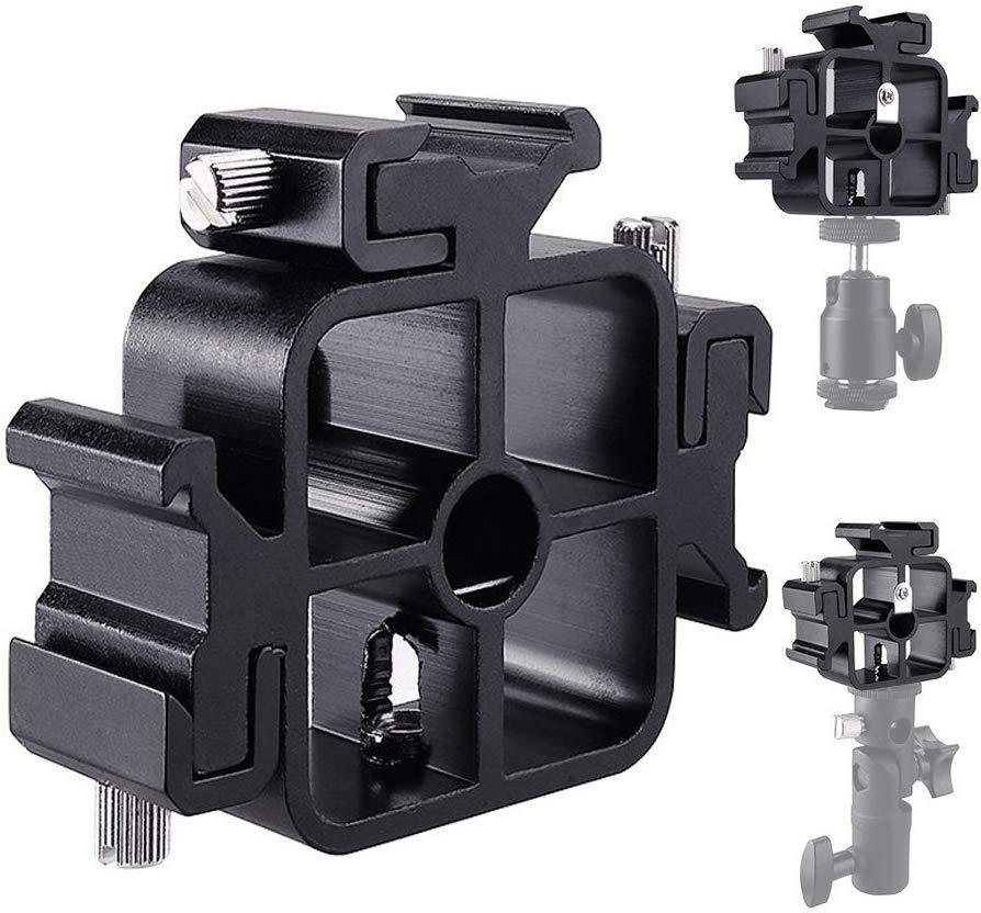Triple soporte de Flash de montaje de zapata fría con adaptador para cabeza de bola soporte de teléfono soporte de sombrilla para fotografía para monitores LED Smartphone