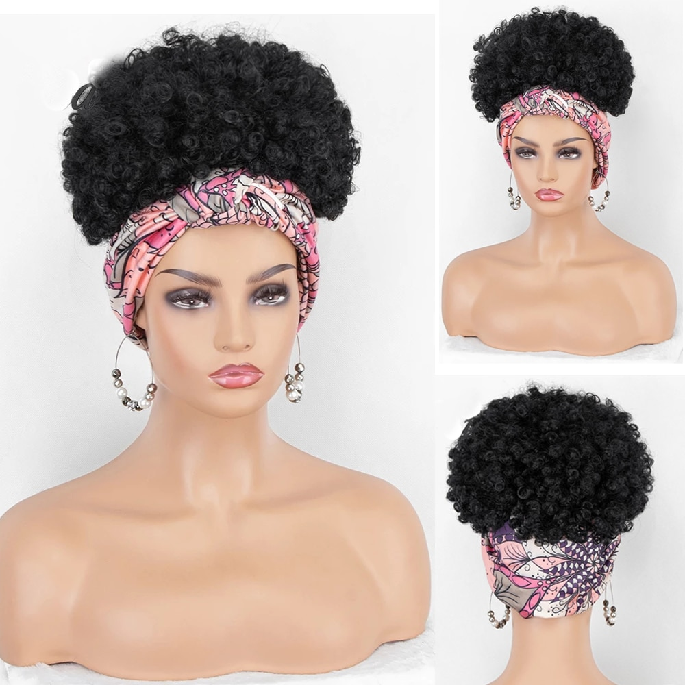 Short Afro Kinky Curly Headband Wig Synthetic Afro Puff brown blonde black wigs for Black Women cosplay High Temperature Fiber