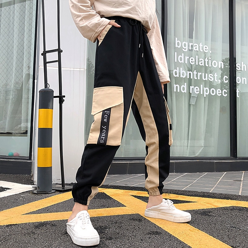 Real Shot Black Cargo Pants Female Autumn Handsome Loose BF