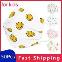 50Pcs Children Disposable Mouth Mask 3 Layer Non-woven Face Mask Cartoon Cute Smile Animals Snowflake Love Printing Respirator