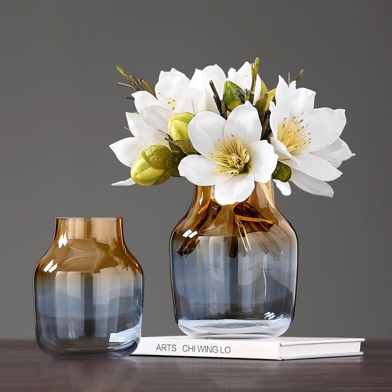 Decoração de Casa Luxo Arranjo Flor Vaso Vidro Sala Estar Exibir Vasos Arte Hidroponia Minimalista Gradiente Artware
