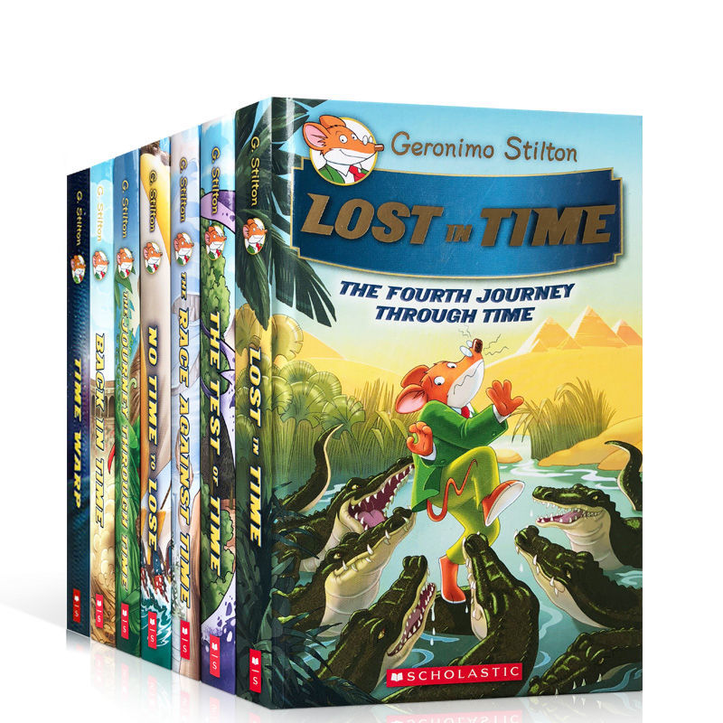 7 Books Geronimo Stilton Journey Through Time Humor Brave Comic Fiction Parent Child Kids Story English Picture story Book