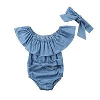 summer newborn baby girl rompers bowknot sleeveless jumpsuit headband outfits set clothes size 0 24m