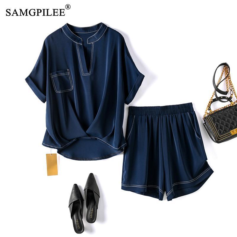 ملابس الصيف للنساء 2021 موضة جديدة قصيرة الأكمام بلوزة كاجوال الخامس الرقبة مرونة الخصر الصلبة قطعتين مجموعات امرأة حجم كبير