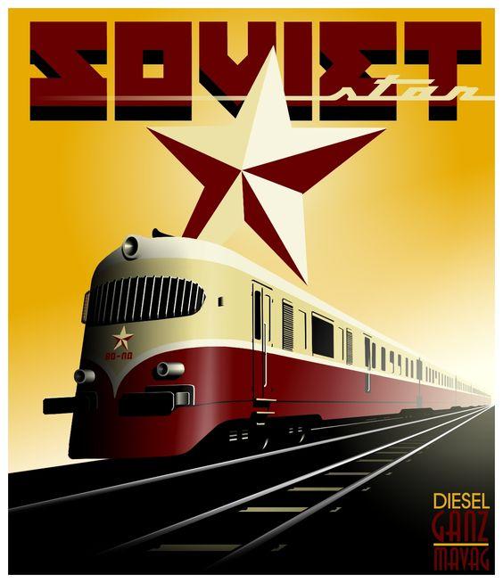 USSR ferrocarril North Shore Line Unión Soviética Express paisaje de viaje Vintage Retro Poster lienzo arte de pared pósteres casa Decoración