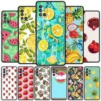 soft funda for samsung galaxy a50 a51 a70 a71 a21s a12 a31 a10 a20e a20s a30 a40 tpu case phone cover summer green leaves fruit