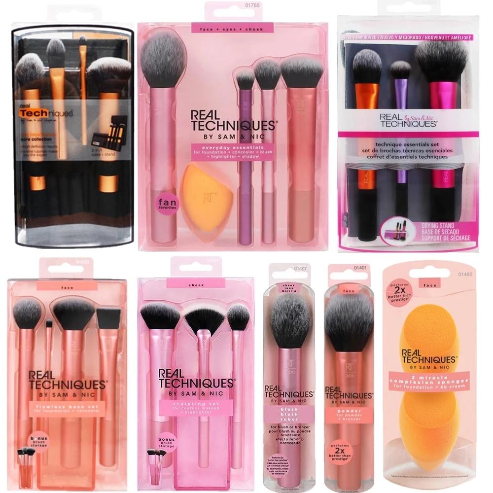 Make up Brushs Makeup sponge Maquillage Real Technique Makeup Brushs Powder Loose Box Belt foundation brush free shipping 1400