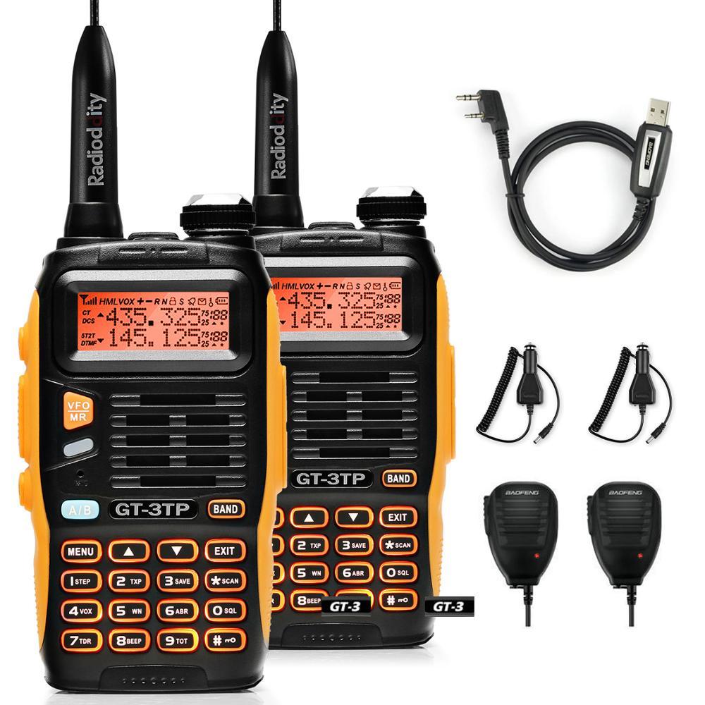 2pcs Baofeng GT-3TP MarkIII VHF/UHF Dual Power Dual Band Ham Long Range Walkie Talkie Two way Radio with 2x Speaker 1x Cable FM