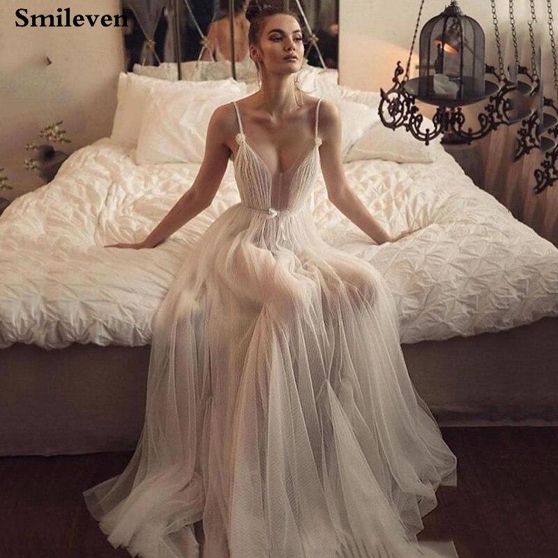 Smileven Boho vestido De novia Robe De Mariee sexy vestidos De novia Spaghetti Correa vestido De novia