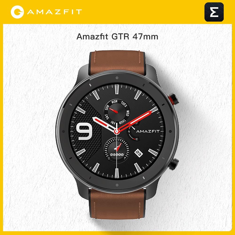 النسخة العالمية Amazfit GTR 47 مللي متر ساعة ذكية 5ATM مقاوم للماء Smartwatch تحكم بالموسيقى 24 أيام بطارية جلد سيليكون حزام