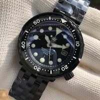 steeldvie sd1975x black warrior black stainless steel case nh35 two color luminous 300m waterproof mens diver watches