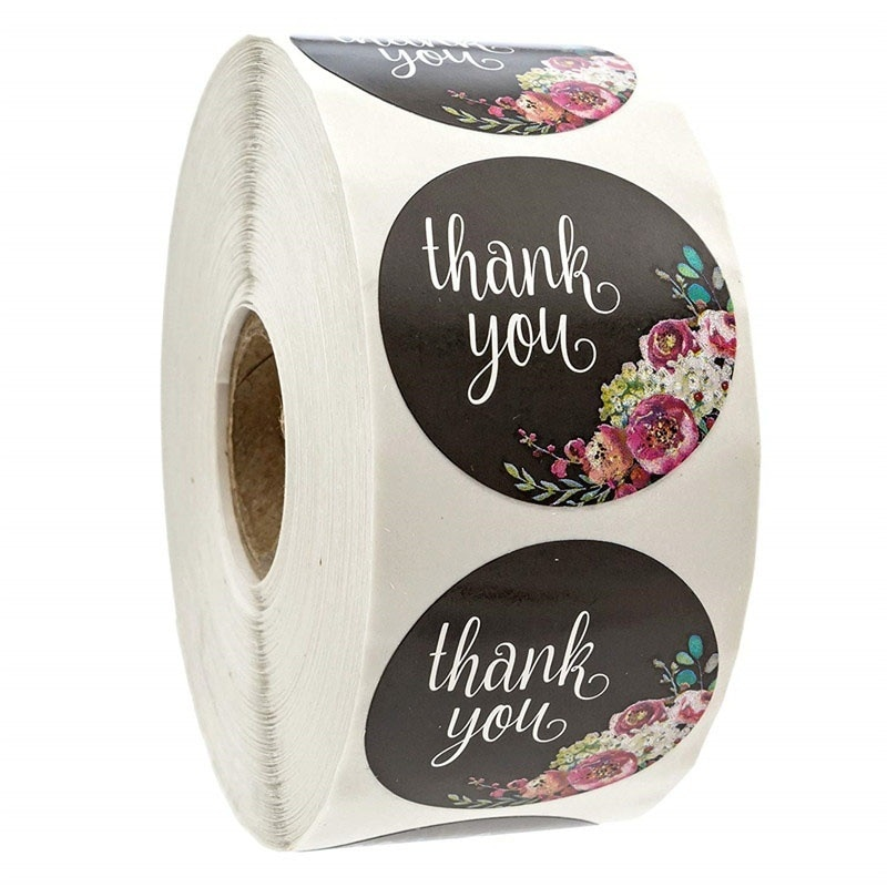Etiquetas autoadhesivas de 500 Uds., etiquetas Vintage negras florales hechas a mano, etiquetas de papel, Etiquetas de Gracias autoselladas, con coste extra personalizado