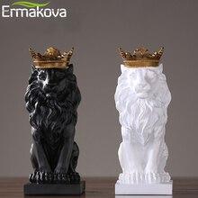 ERMAKOVA moderne résine Lion Statue le roi Lion Figurine avec or couronne Animal Figurine maison bureau décoration de bureau
