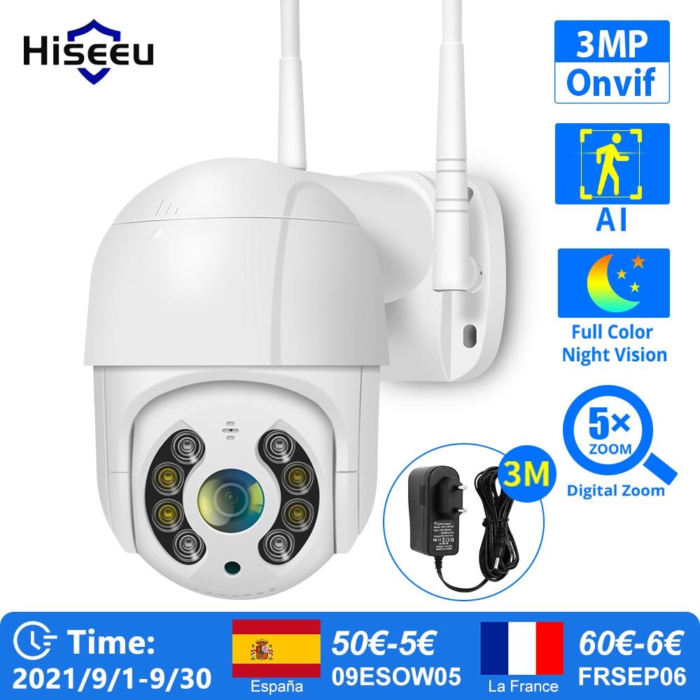 Hiseeu 3MP WIFI IP Camera Outdoor HD Full Color Night Vision PTZ Waterproof Security Speed Camera AI Human Detection ICSee