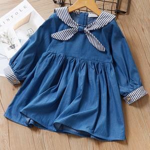 Fashion girl 2020 autumn new children's clothing girls student style denim long sleeve dress 3-8 years old dress for girl