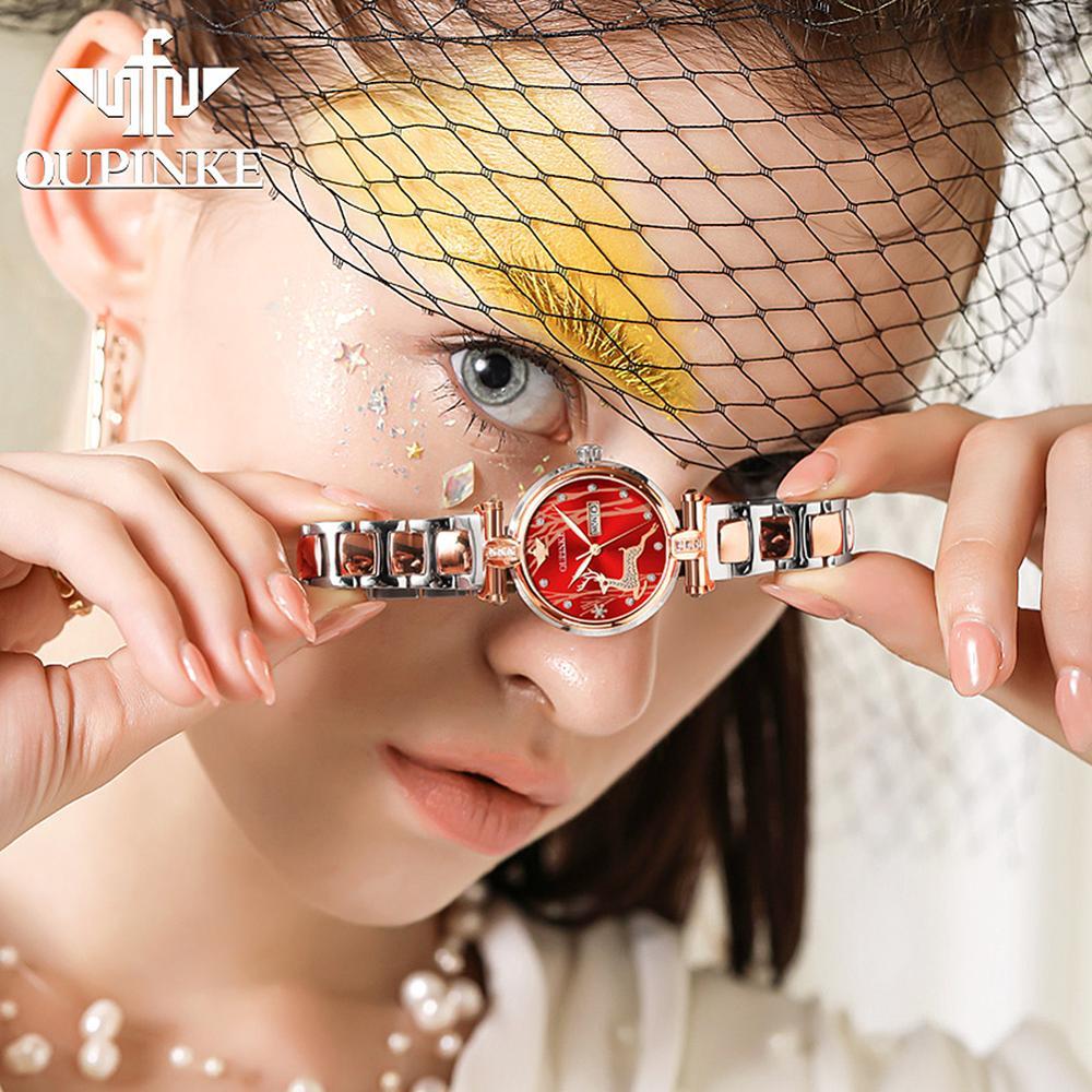 New Fashion OUPINKE Luxury Brand Women Mechanical Watch Watch Women Automatic Mechanical Watches for Women Gift for Women enlarge