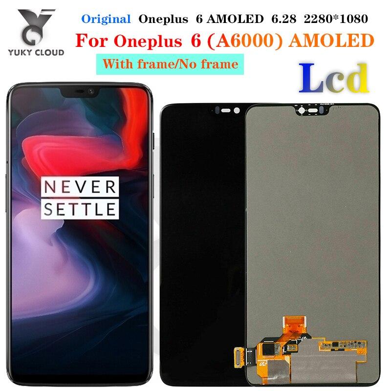 شاشة LCD تعمل باللمس Super Amoled M & Sen ، مقاس 6.28 بوصة ، مع محول رقمي ، لاستبدال الإطار ، لـ OnePlus 6 One Plus 6