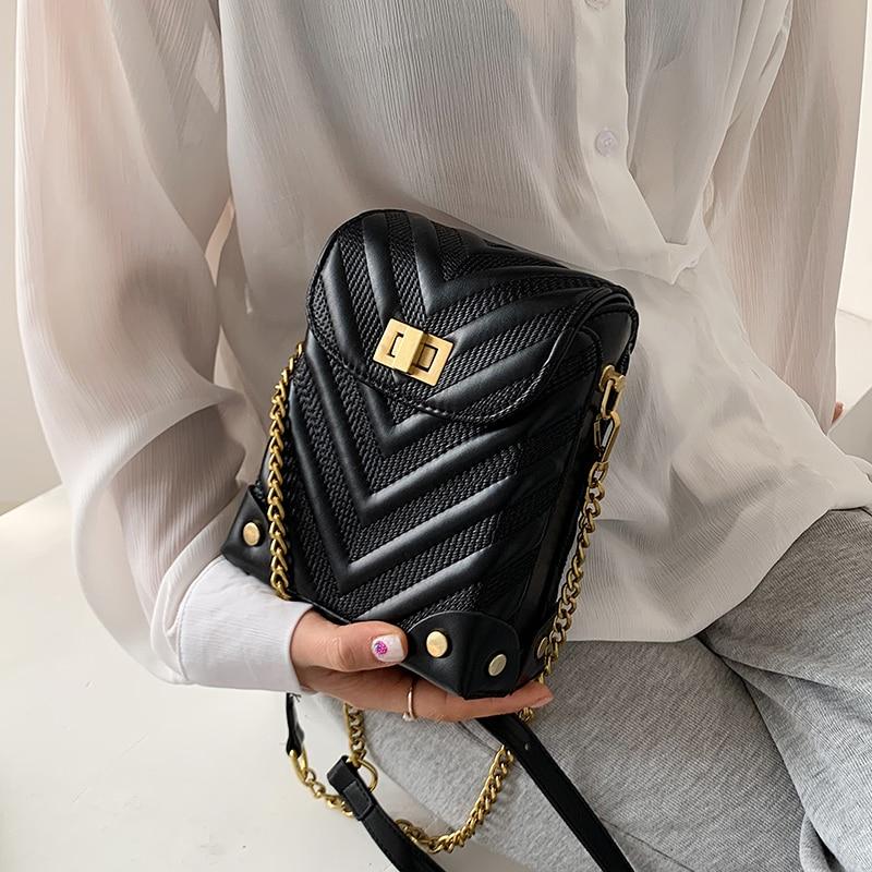 Mini PU Leather Crossbody Bags for Women 2021 Summer Luxury Trendy Chain Travel Shoulder Handbags Phone Purses