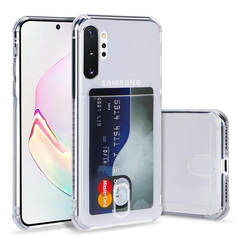 Mode Kreditkarte Halter Transparent Fall für Samsung Galaxy S20 ultra S8 S9 plus S10 lite Note9 10 A20 A51 a50 A70 TPU Abdeckung