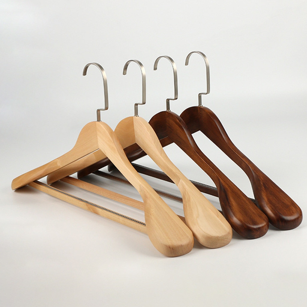 Percha de madera de alto grado de hombro ancho percha de madera para traje
