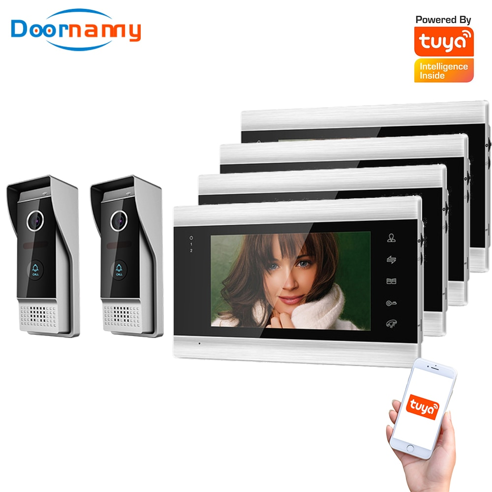Doornanny Villa Apartment WiFi Video Intercom System 2Doorbell To 4Monitors Tuya Doorbell Doorphone 2Doors Intercom Kit AHD 720P