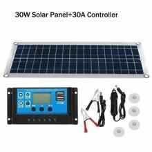 NEW-30W المزدوج USB مرنة مجموعة اللوحة الشمسية + 30A تحكم كليب غطاء خارجي للسيارة شاحن الطاقة